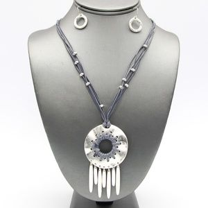 Jewelry - Silver Metal and Gray Dream Catcher Necklace Set